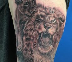 black and grey realism lion arm tattoo