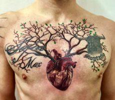 realism heart tree tattoo