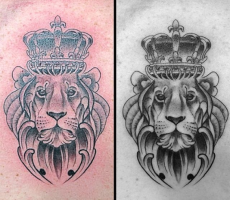 black and grey realism lion with crown tattoo
