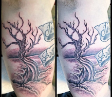 black and grey realism tree Octopus Ink